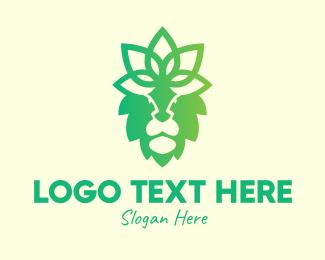 Lion Face - Decorative Floral Lion logo design