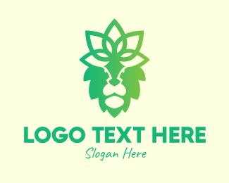 Wild Cat - Decorative Floral Lion logo design