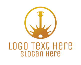 Guitar Lesson - Gold Guitar Morning logo design