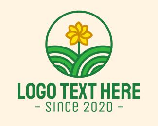 Green And Yellow - Yellow Sunflower Flower Garden logo design