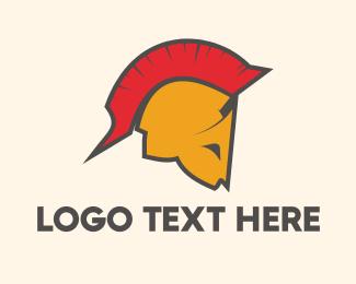 Red Soldier - Spartan Helmet logo design