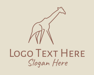 Animal Sanctuary - Minimal Giraffe logo design