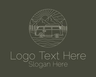 Summer Vacation - Camper Van Travel  logo design