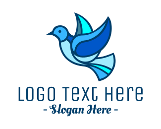 Wedding - Blue Mosaic Bird logo design