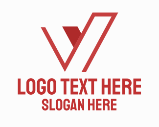 Victoria - Abstract Red Letter V logo design