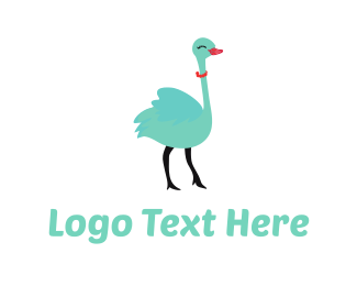 Eyelashes - Cute Ostrich Cartoon logo design