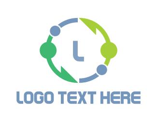 Astronaut - Circle Arrow Lettermark logo design