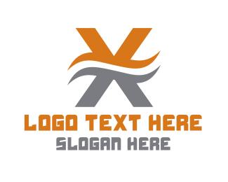 Letter X - Wavy Letter X logo design