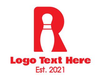 Strike - Red R Bowling Pin logo design
