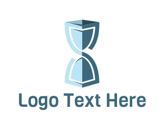 Timer - Blue Hourglass logo design