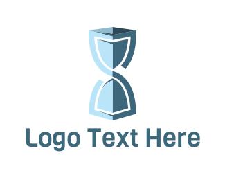Timer - Blue Hourglass logo design