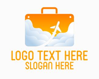 Air Transport - Plane Travel Suitcase  logo design