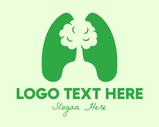 Natural Healing - Green Eco Tree Lungs logo design