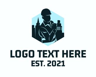 Real Estate - Civil Engineer Silhouette logo design