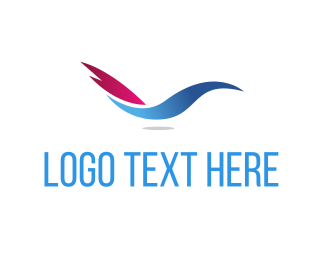 Blue And Pink - Abstract Blue Bird logo design