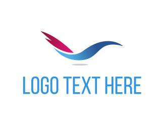 Blue And Pink - Abstract Blue Bird logo design