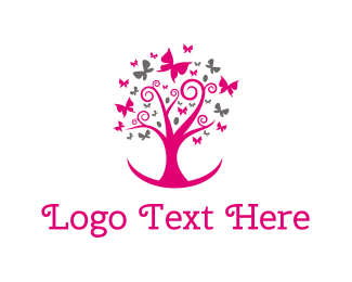 Aesthetic - Feminine Pink Tree logo design