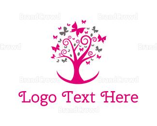 Nursery - Feminine Pink Tree logo design