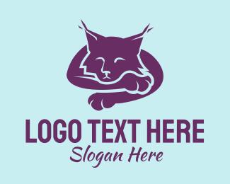 Sleeping - Purple Sleeping Cat  logo design