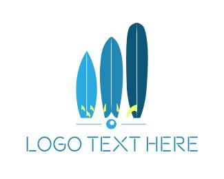 Aussie - Blue Surfboards logo design