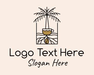 Palm - Monoline Coffee Palm Tree logo design
