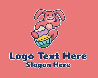 Cartoon - Colorful Easter Rabbit  logo design