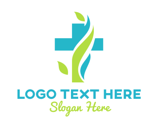 Christian - Nature Crucifix logo design