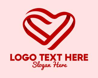 Hand Paint - Red Heart Valentine logo design