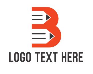 Sketching - Orange B Pencil logo design