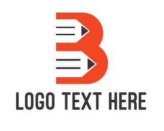 Pencil - Orange B Pencil logo design