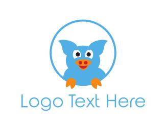 Pork - Blue Pig logo design