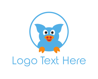 Pig - Blue Pig logo design