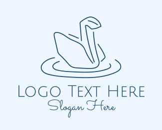 Sheet - Origami Swan Line Art logo design
