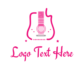 Live Music - Pink Guitar logo design
