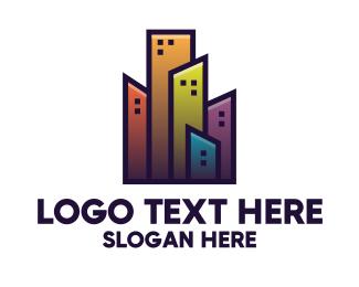 Contemporary - Colorful City Building logo design
