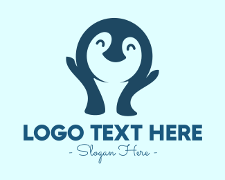 Blue Penguin - Cute Happy Penguin logo design