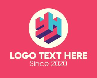 Tv Channel - 3D Media Company YH logo design