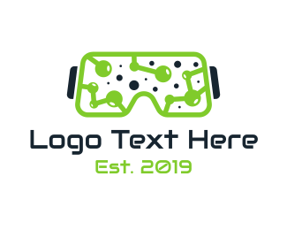 Vr - Green Circuitry VR logo design