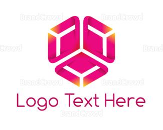 Dynamic - Pink Hexagon Flower logo design