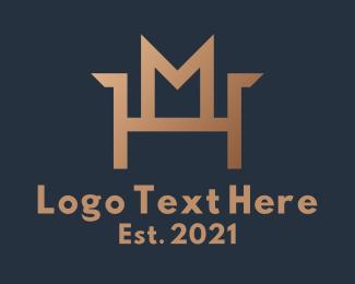 M - Brown Chair Letter M logo design