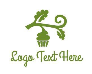 Sweets - Green Organic Vegan Cupcake logo design