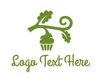 Vegan - Green Organic Vegan Cupcake logo design
