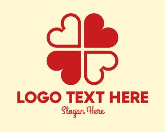 Hearts - Red Hearts Clover Leaf logo design
