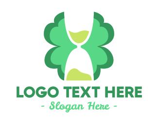 Hourglass - Cloverleaf Hourglass logo design