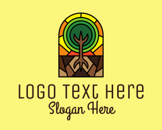 Tree Planting - Stained Glass Tree Planting logo design