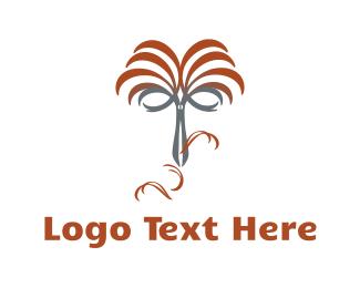Haircut - Scissors  Haircut logo design