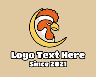 Poultry - Chicken Rooster Moon logo design