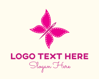 Sewing - Needle Butterfly logo design