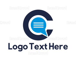 Text Message - Blue C Chat logo design