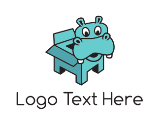Toy Shop - Hippo Box logo design